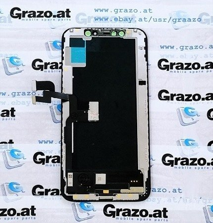 GRAZO - iPhone Xs - Complete Display HARD OLED + Front Frame + Touchscreen BLACK - Grade AAA