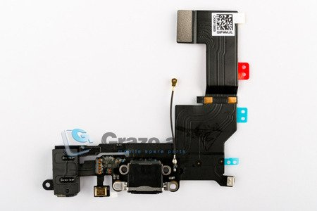iPhone 5S - Charging Connector + Audio Connector Flex BLACK
